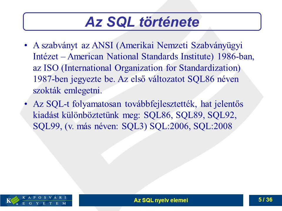 Az SQL története