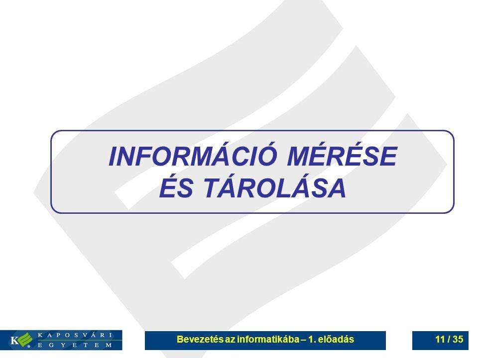 INFORMÁCIÓ MÉRÉSE ÉS TÁROLÁSA Bevezetés az informatikába – 1. előadás