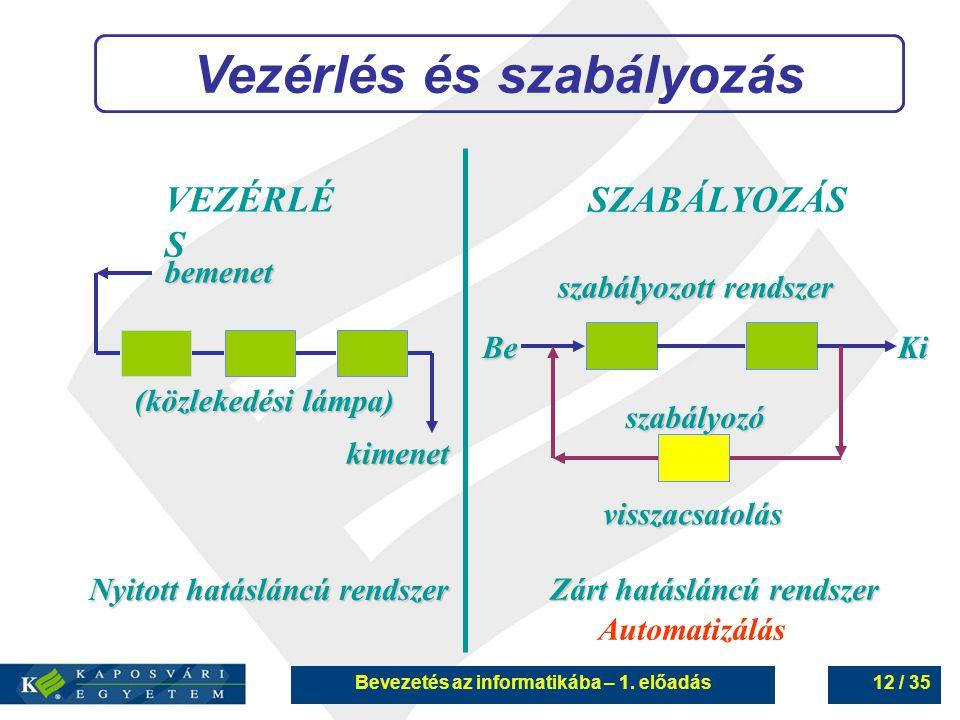 Vezérlés és szabályozás Bevezetés az informatikába – 1. előadás