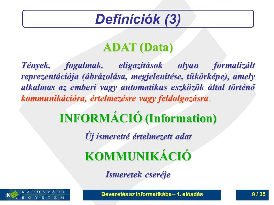 Definíciók (3) ADAT (Data) INFORMÁCIÓ (Information) KOMMUNIKÁCIÓ