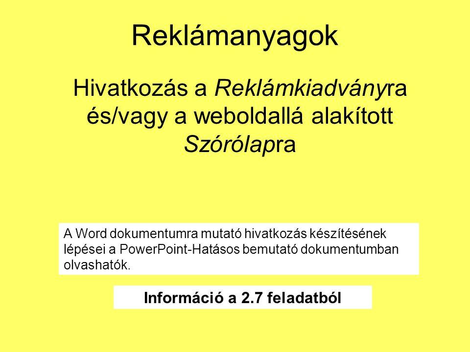 Információ a 2.7 feladatból