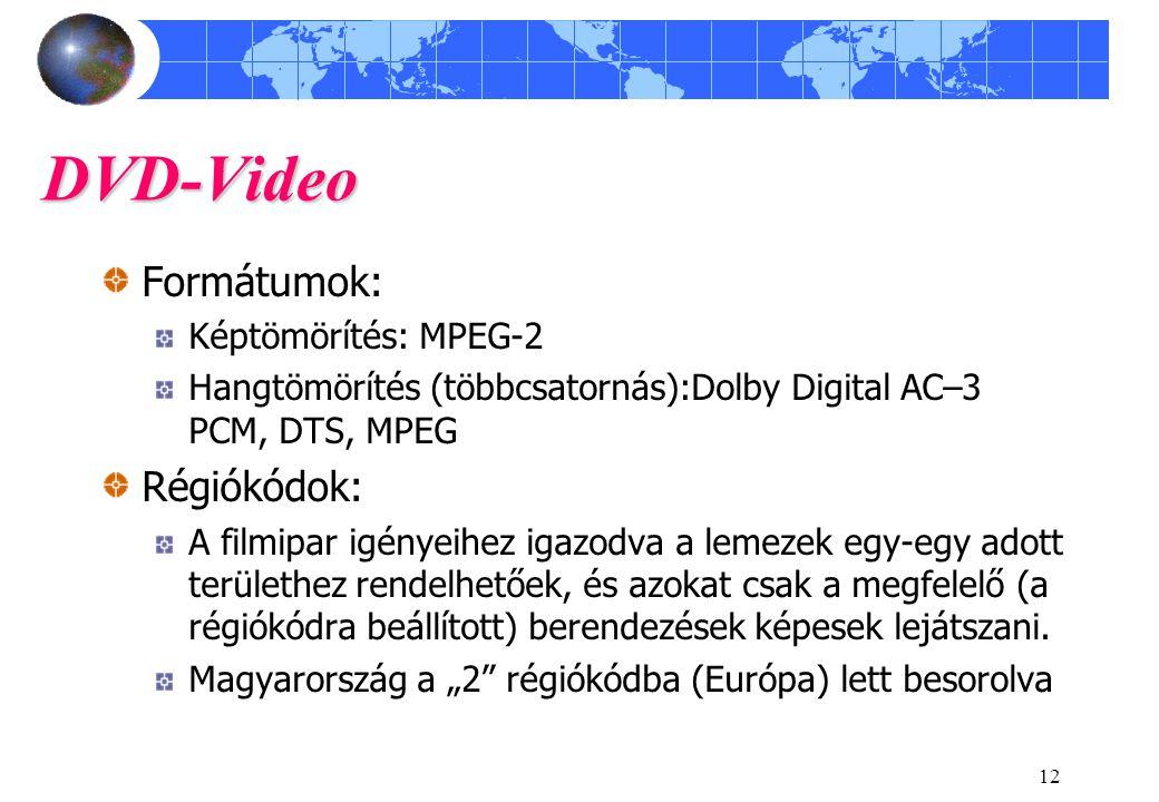 DVD-Video Formátumok: Régiókódok: Képtömörítés: MPEG-2