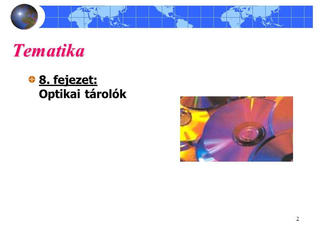 Tematika 8. fejezet: Optikai tárolók