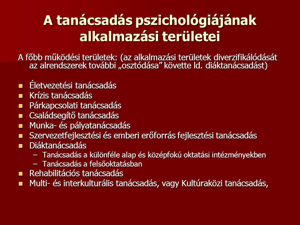 A tanácsadás pszichológiájának alkalmazási területei