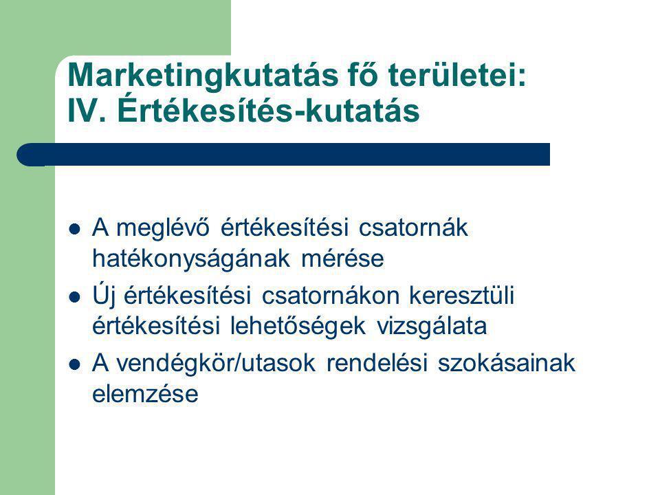 Marketingkutatás fő területei: IV. Értékesítés-kutatás