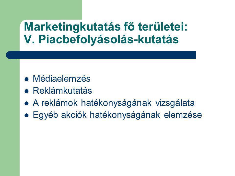 Marketingkutatás fő területei: V. Piacbefolyásolás-kutatás
