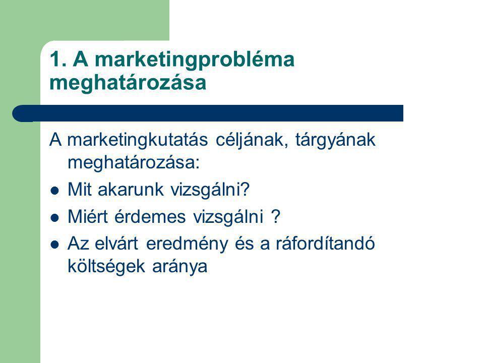 1. A marketingprobléma meghatározása