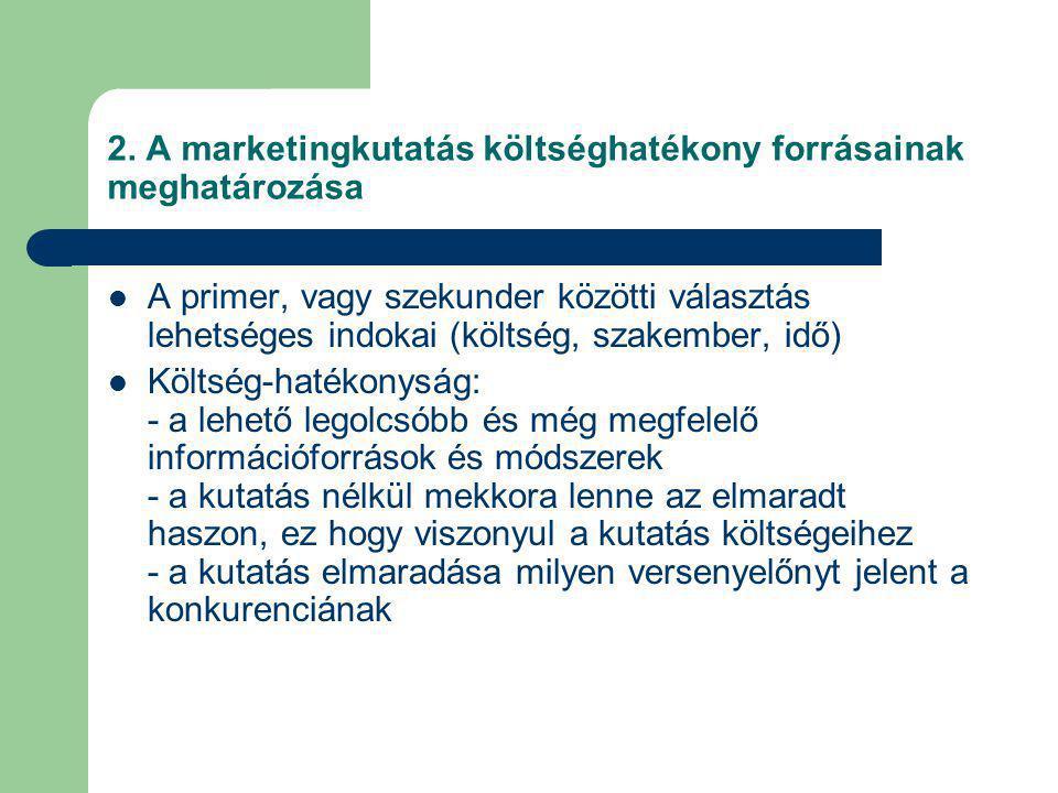 2. A marketingkutatás költséghatékony forrásainak meghatározása