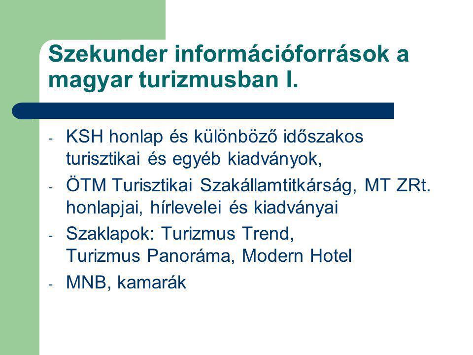 Szekunder információforrások a magyar turizmusban I.