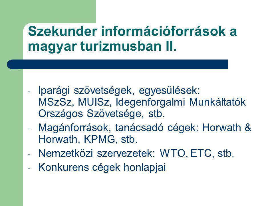 Szekunder információforrások a magyar turizmusban II.