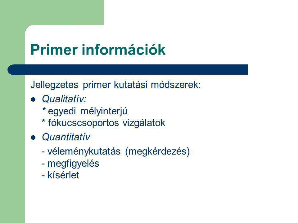 Primer információk Jellegzetes primer kutatási módszerek: