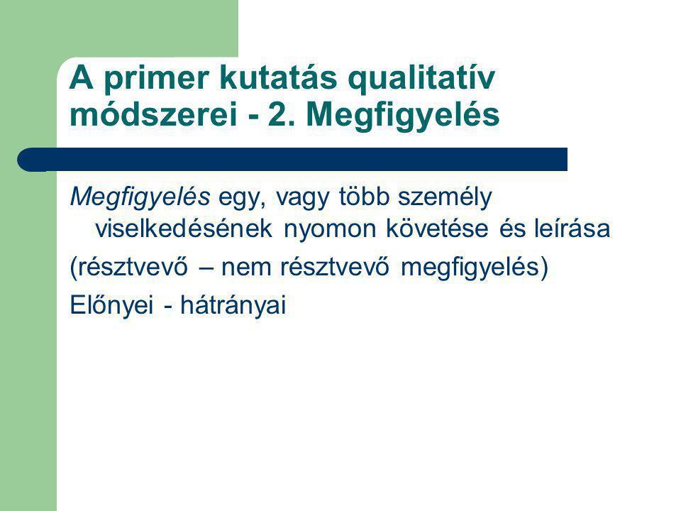 A primer kutatás qualitatív módszerei - 2. Megfigyelés