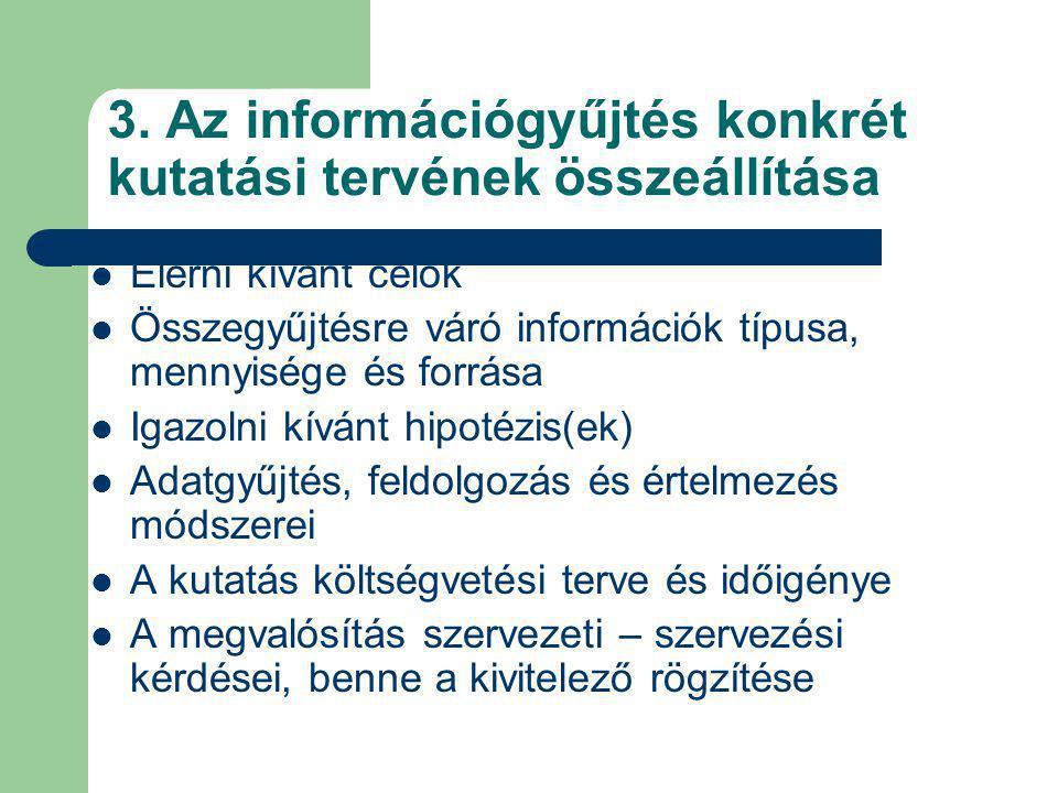 3. Az információgyűjtés konkrét kutatási tervének összeállítása