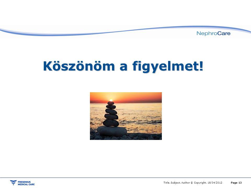 Köszönöm a figyelmet! Title, Subject, Author © Copyright, 18/04/2012