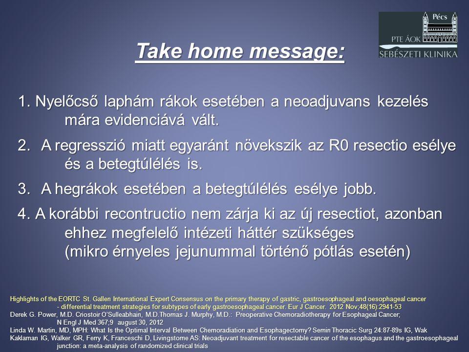 Take home message: Nyelőcső laphám rákok esetében a neoadjuvans kezelés. mára evidenciává vált.