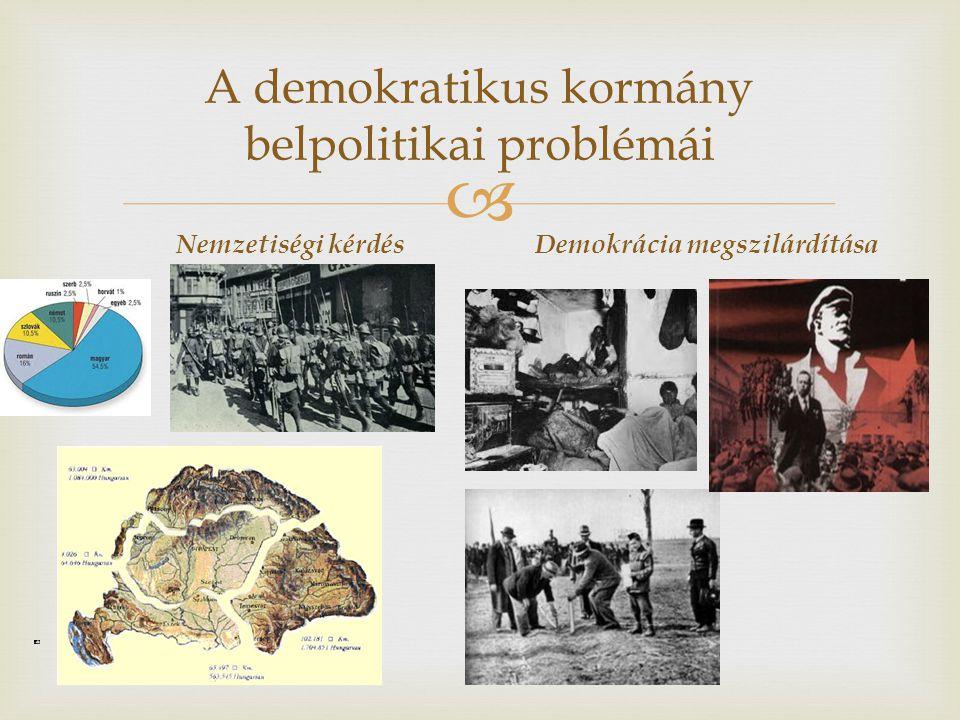 A demokratikus kormány belpolitikai problémái