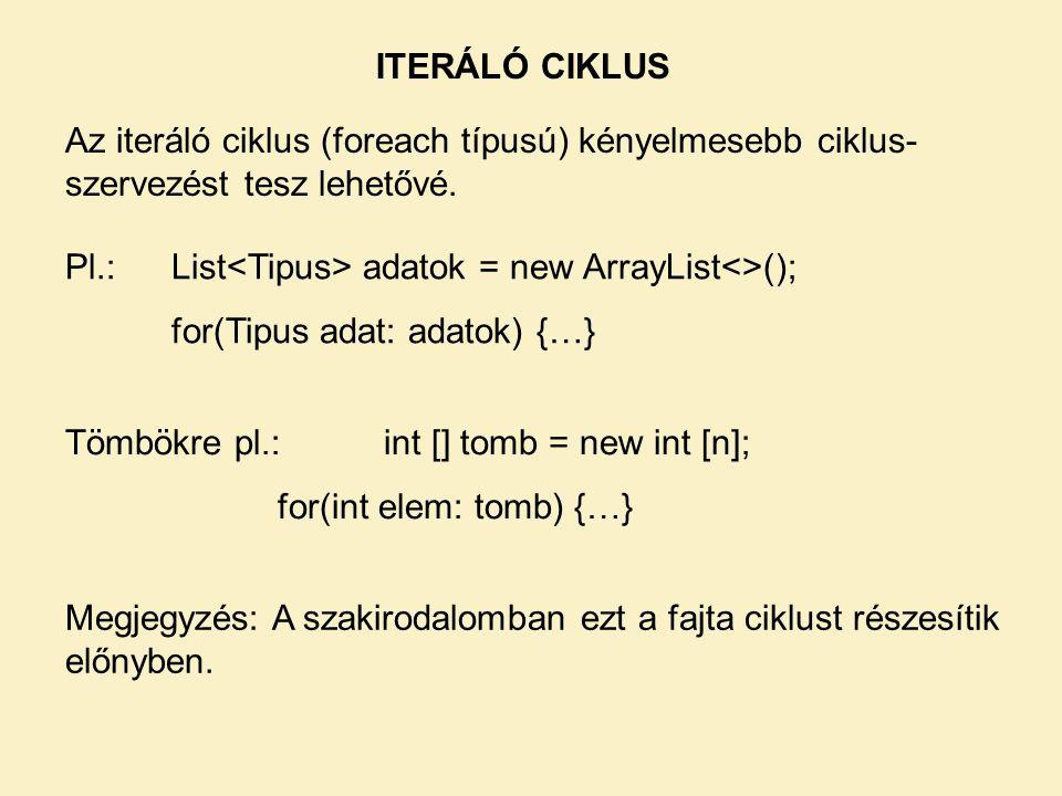 ITERÁLÓ CIKLUS Az iteráló ciklus (foreach típusú) kényelmesebb ciklus-szervezést tesz lehetővé. Pl.: List<Tipus> adatok = new ArrayList<>();
