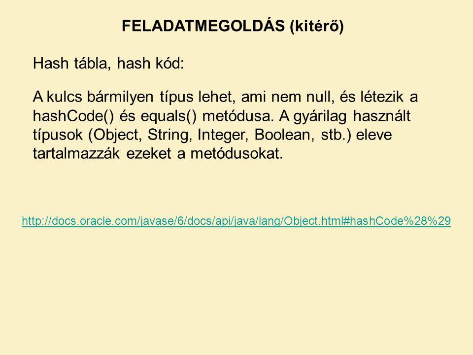 FELADATMEGOLDÁS (kitérő)
