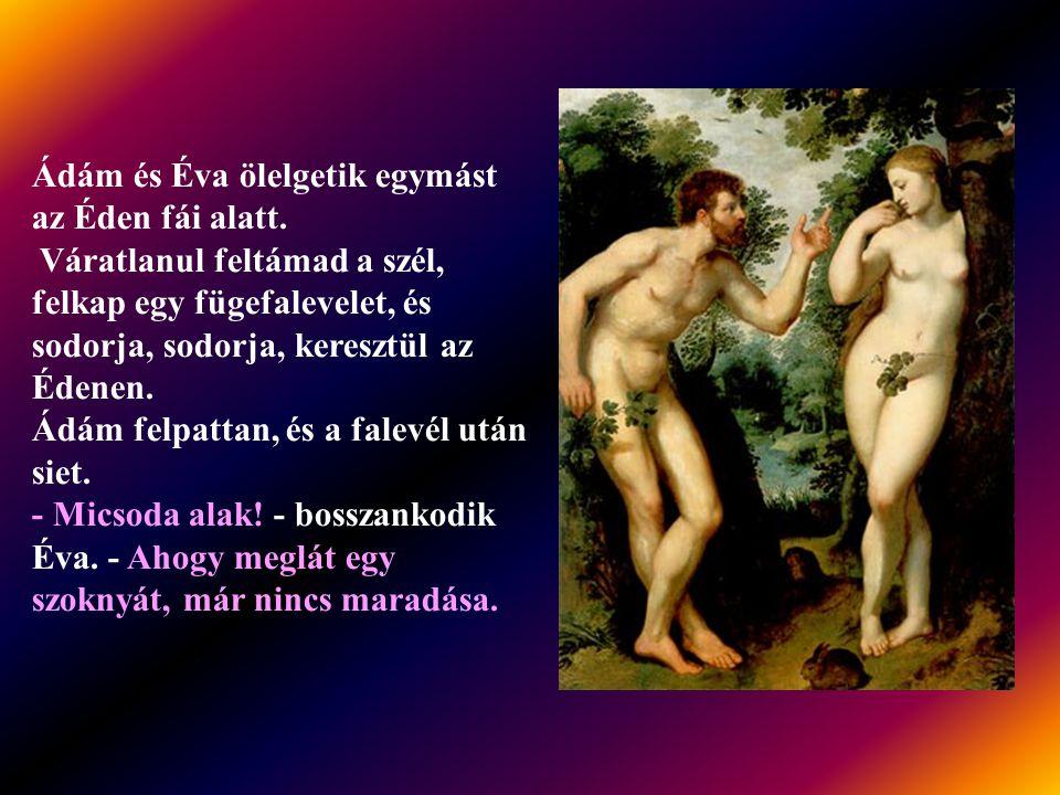 Ádám és Éva ölelgetik egymást az Éden fái alatt