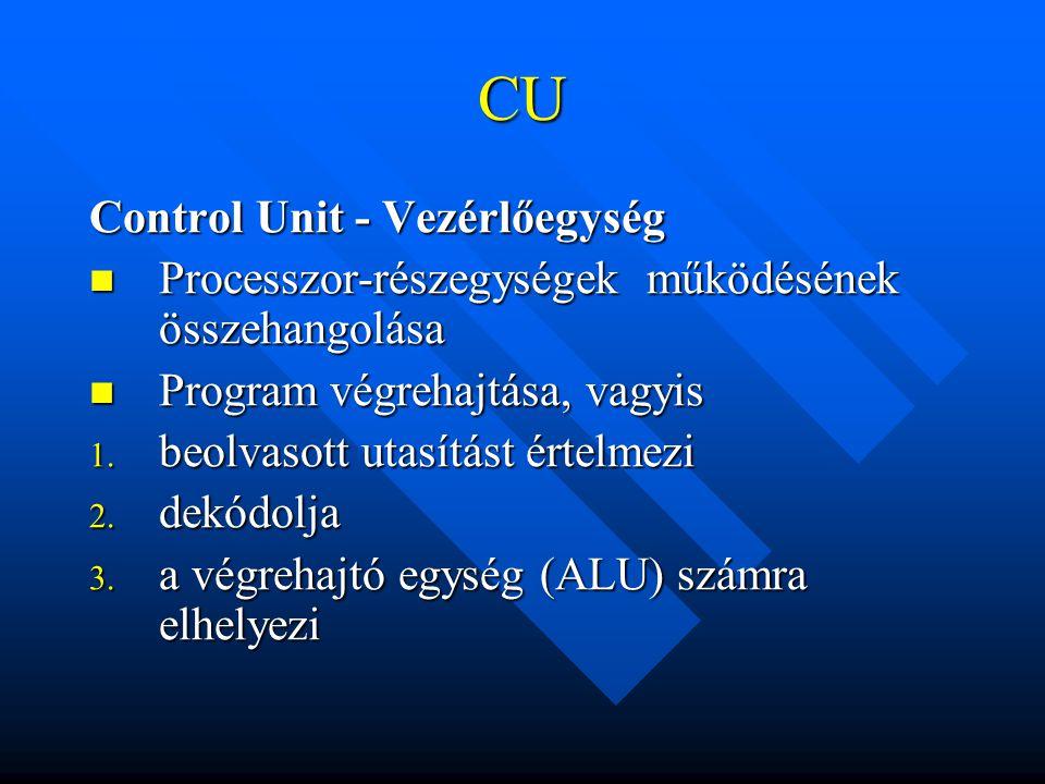 CU Control Unit - Vezérlőegység