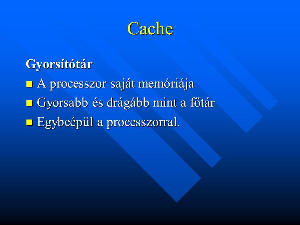 Cache Gyorsítótár A processzor saját memóriája