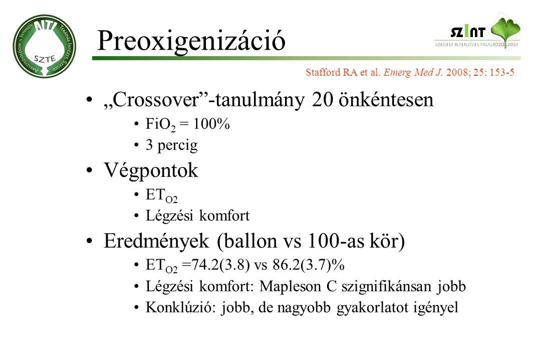 """Preoxigenizáció """"Crossover -tanulmány 20 önkéntesen Végpontok"""