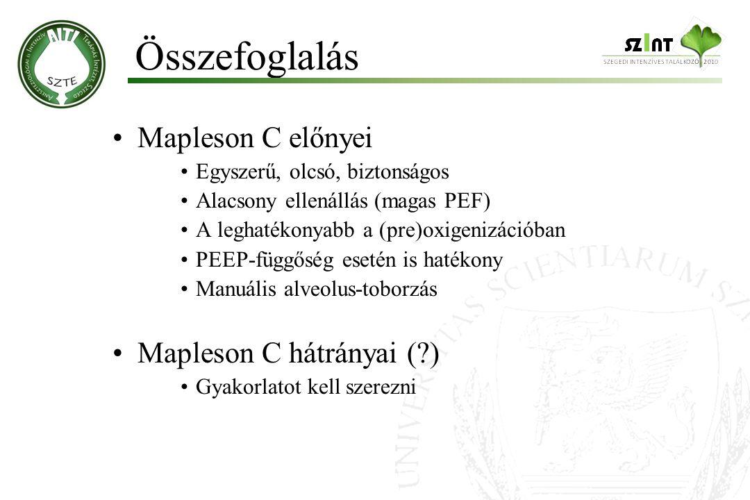 Összefoglalás Mapleson C előnyei Mapleson C hátrányai ( )
