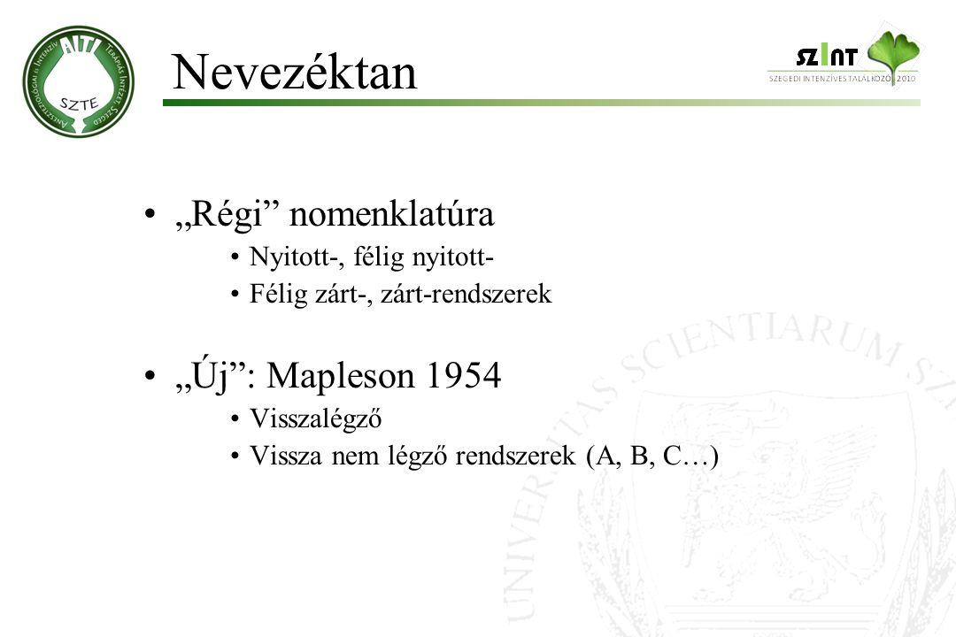 "Nevezéktan ""Régi nomenklatúra ""Új : Mapleson 1954"