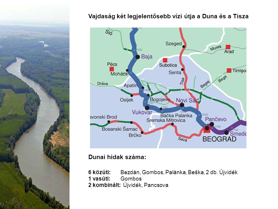 Vajdaság két legjelentősebb vízi útja a Duna és a Tisza