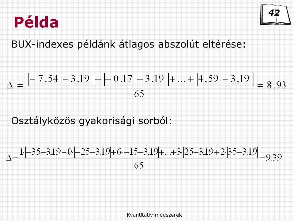 Példa BUX-indexes példánk átlagos abszolút eltérése: