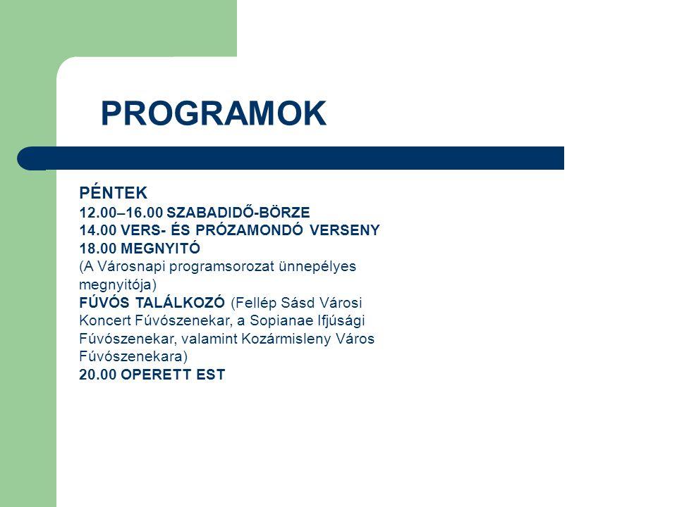 PROGRAMOK PÉNTEK 12.00–16.00 SZABADIDŐ-BÖRZE