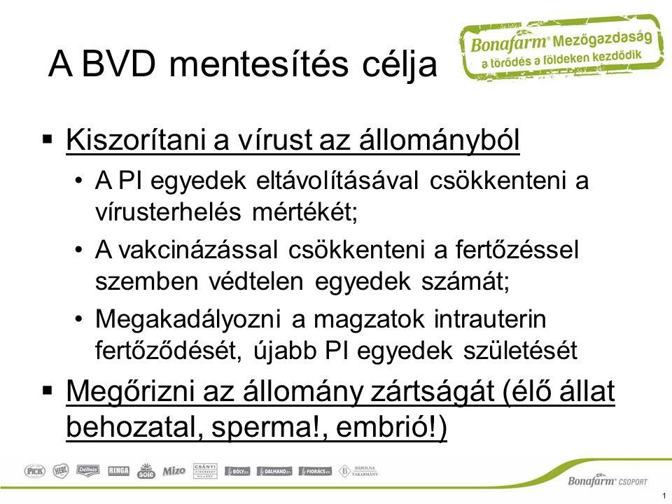 A BVD mentesítés célja Kiszorítani a vírust az állományból