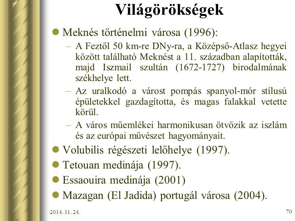 Világörökségek Meknés történelmi városa (1996):
