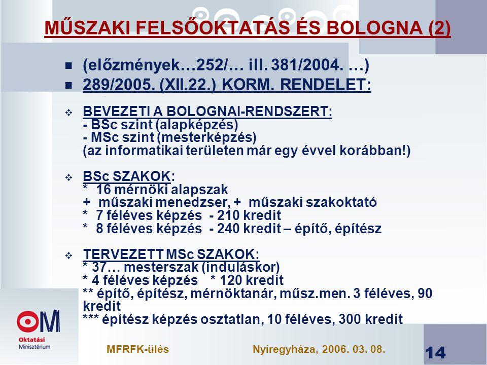MŰSZAKI FELSŐOKTATÁS ÉS BOLOGNA (2)