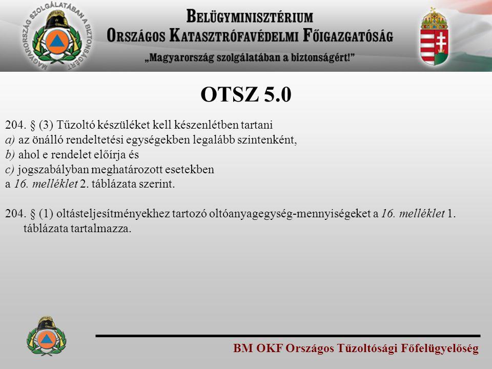 OTSZ 5.0 204. § (3) Tűzoltó készüléket kell készenlétben tartani