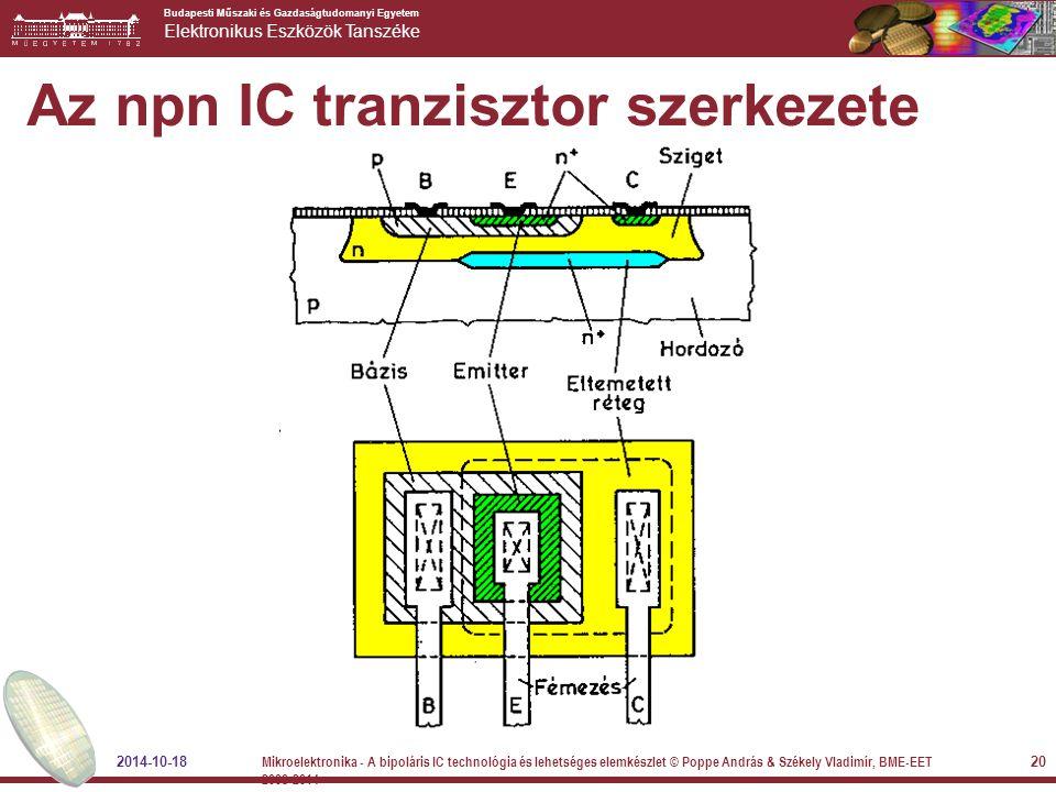 Az npn IC tranzisztor szerkezete