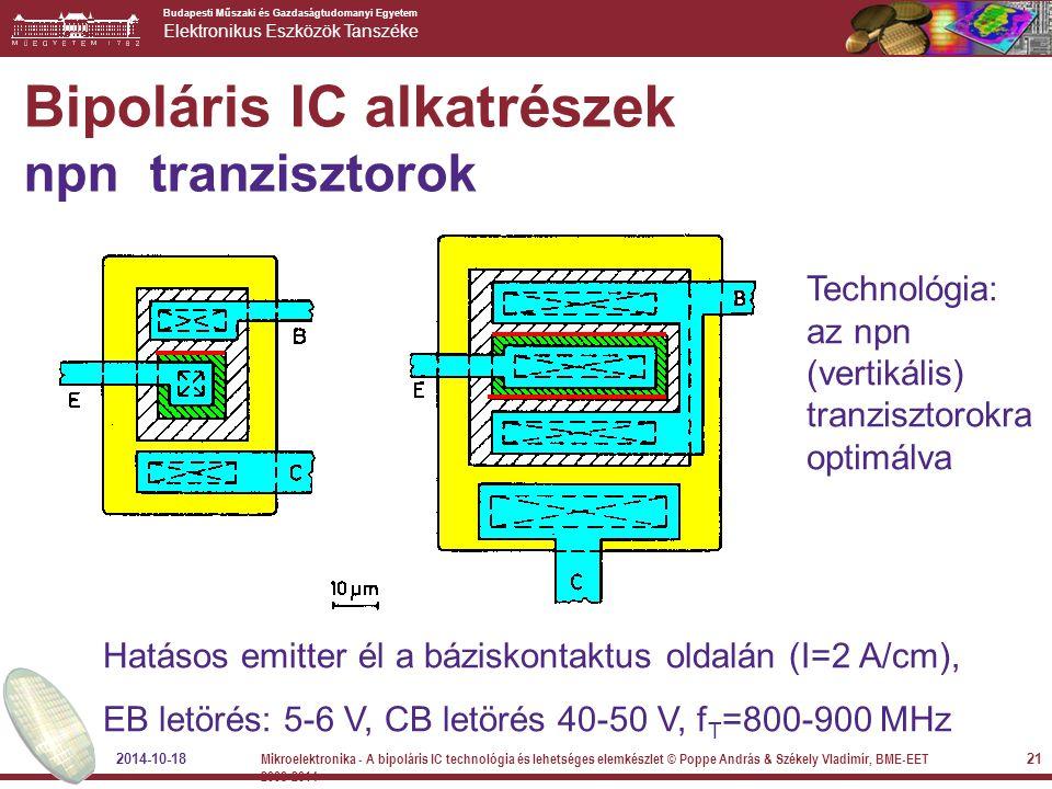 Bipoláris IC alkatrészek npn tranzisztorok