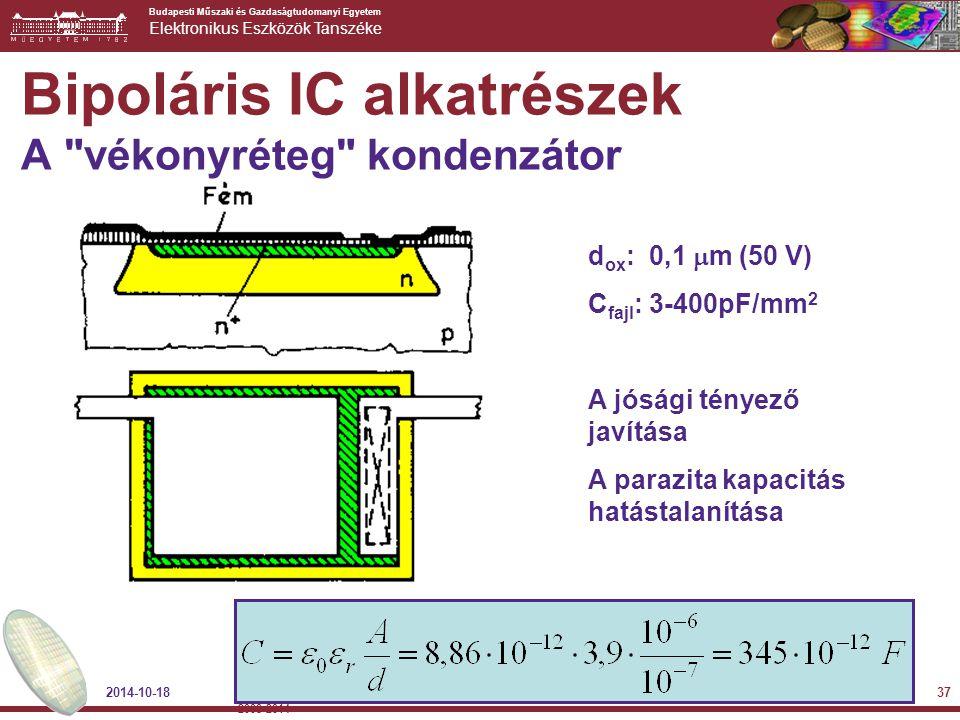 Bipoláris IC alkatrészek A vékonyréteg kondenzátor