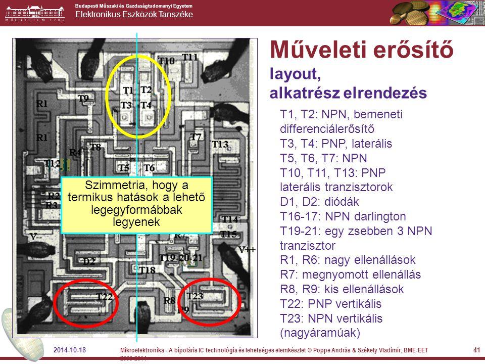 Műveleti erősítő layout, alkatrész elrendezés