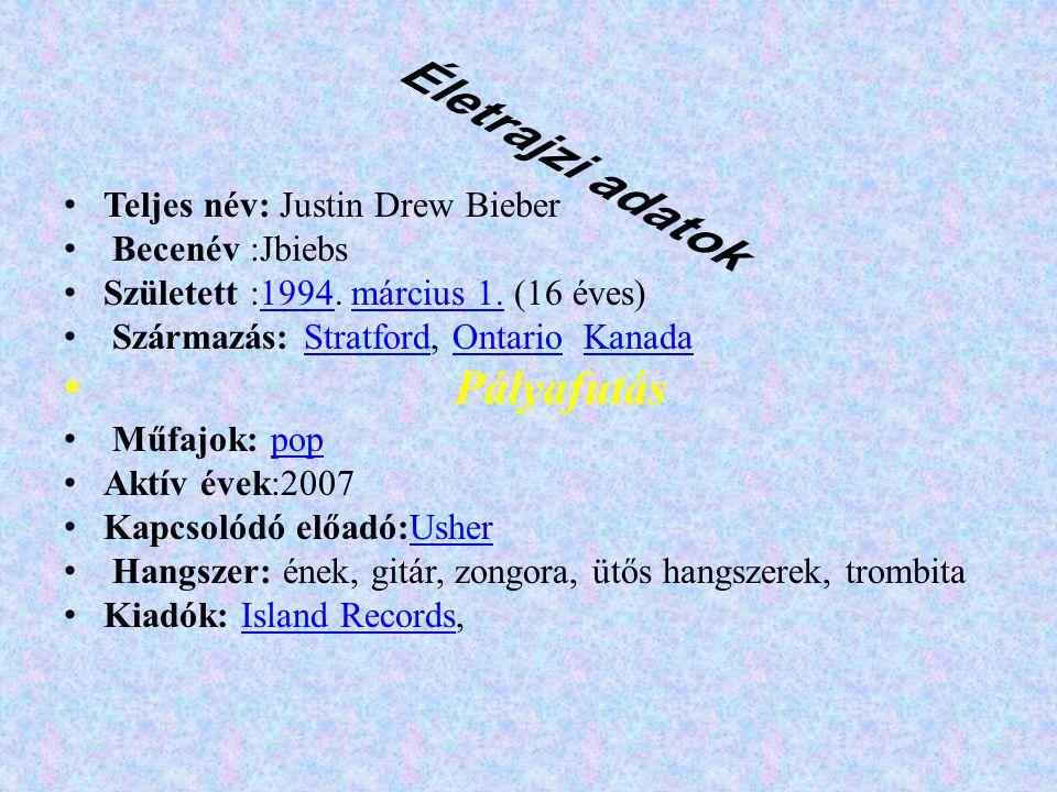 Életrajzi adatok Pályafutás Teljes név: Justin Drew Bieber