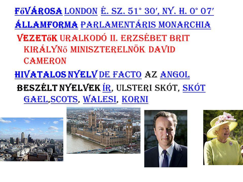 Fővárosa London é. sz. 51° 30′, ny. h