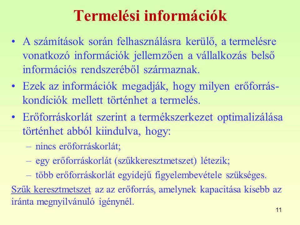 Termelési információk