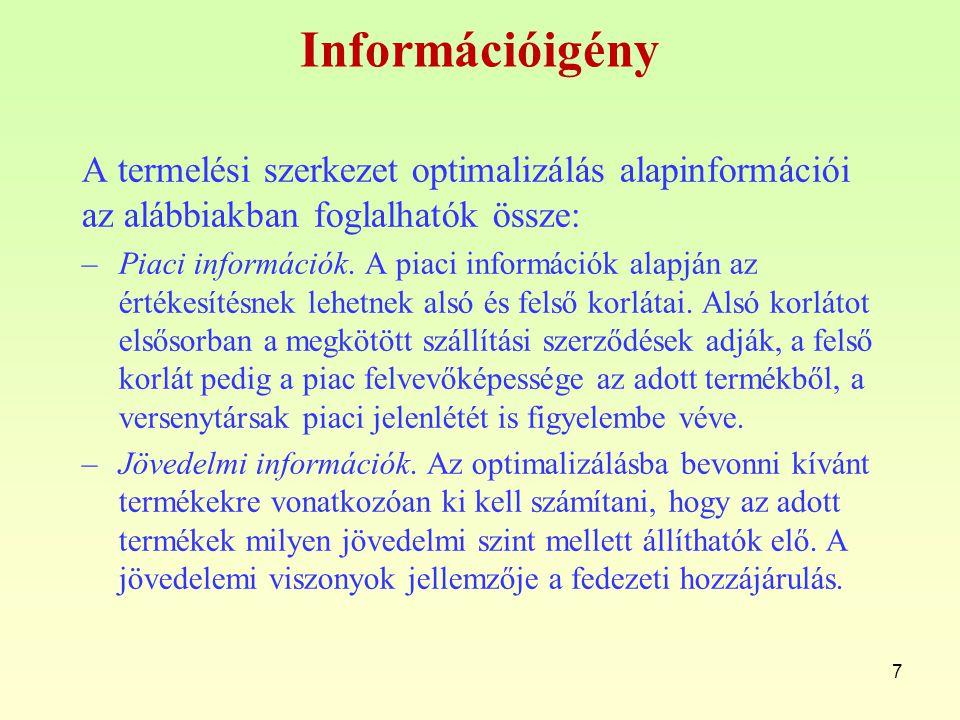 Információigény A termelési szerkezet optimalizálás alapinformációi az alábbiakban foglalhatók össze: