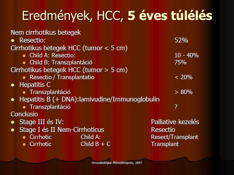 Eredmények, HCC, 5 éves túlélés