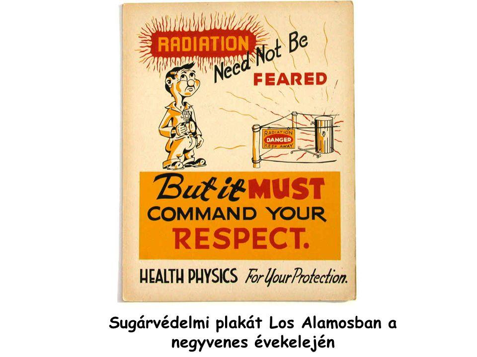 Sugárvédelmi plakát Los Alamosban a negyvenes évekelején