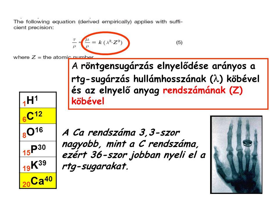 A röntgensugárzás elnyelődése arányos a rtg-sugárzás hullámhosszának (l) köbével és az elnyelő anyag rendszámának (Z) köbével