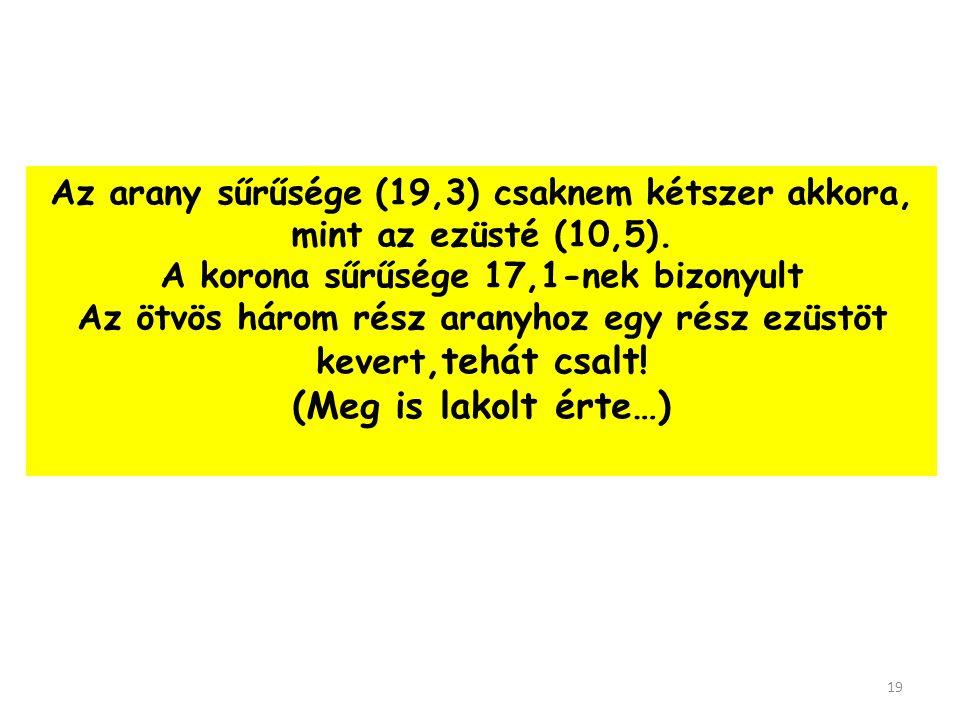 (Meg is lakolt érte…) Az arany sűrűsége (19,3) csaknem kétszer akkora,