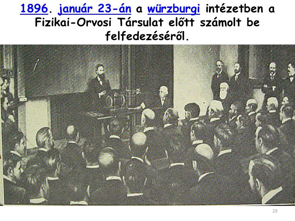 1896. január 23-án a würzburgi intézetben a Fizikai-Orvosi Társulat előtt számolt be felfedezéséről.