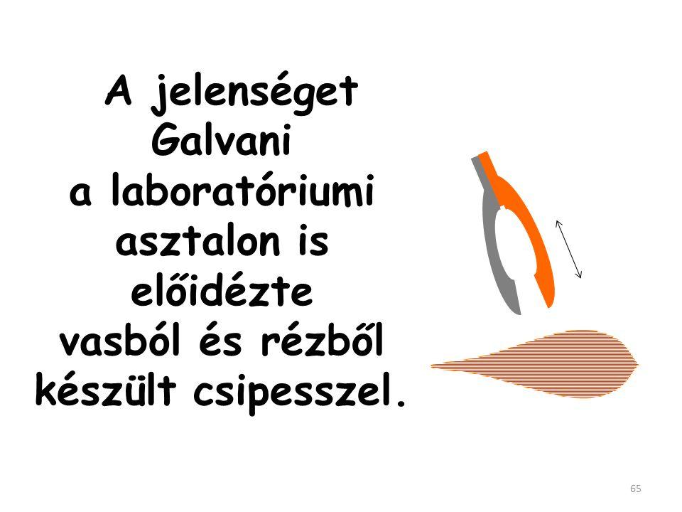 A jelenséget Galvani a laboratóriumi asztalon is előidézte vasból és rézből készült csipesszel.