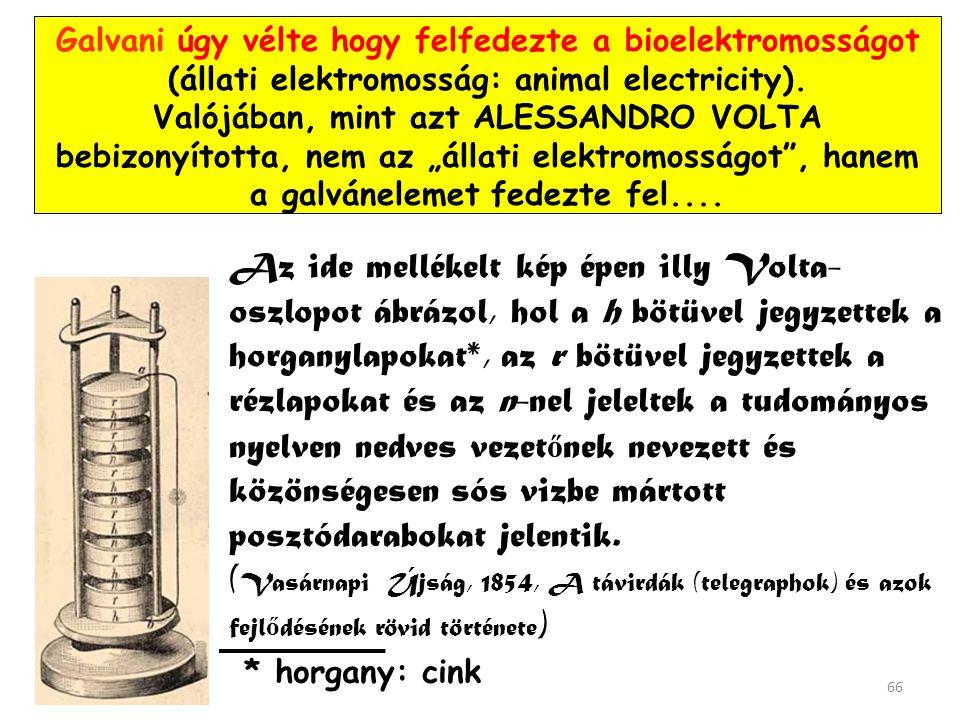 """Galvani úgy vélte hogy felfedezte a bioelektromosságot (állati elektromosság: animal electricity). Valójában, mint azt ALESSANDRO VOLTA bebizonyította, nem az """"állati elektromosságot , hanem a galvánelemet fedezte fel...."""